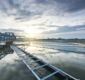 Water Treatment plant with sunrise
