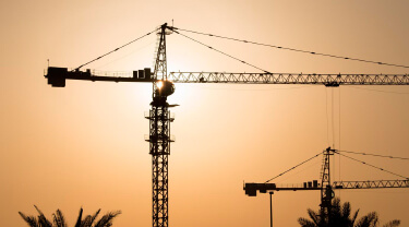 Sunset view of a commercial construction site in Riyadh, Saudi Arabia