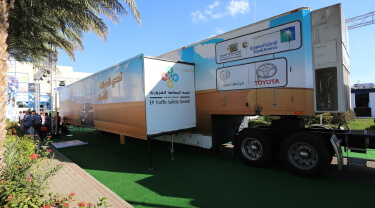 """A truck equipped with technology-enabled interactive simulation at the """"Safe Driving Challenge"""""""