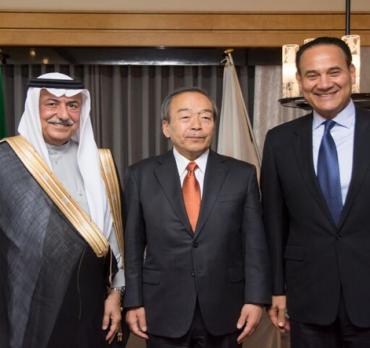 H.E Dr. Ibrahim Al-Assaf, Mr. Takeshi Uchiyamada, and Mr. Mohammed Abdul Latif Jameel