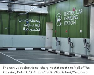 The new valet Electric car charging station at the Mall of the Emirates - Abdul Latif Jameel®