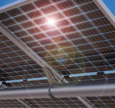 Solar panel under bright sun, Mexico