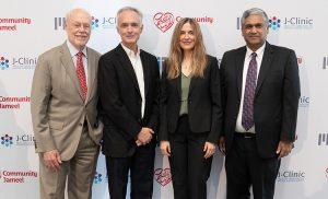 Meet the J-Clinic leadership team (L-R): Phillip A. Sharp, Chair, Advisory Board; James J. Collins & Regina Barizlay, Faculty Leads; Anantha P. Chandrakasan, Chair, J-Clinic.