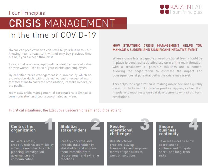 Crisis Management in the time of COVID-19