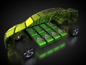 Electric Vehicle Rendering Showing Battery Pack